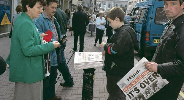 The edition of the Belfast Telegraph reporting the announcement of the IRA's ceasefire in 1994 hits the streets