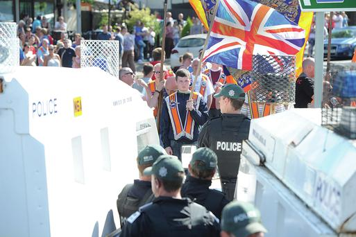 Loyalists hold a white line protest at Twaddell Avenue