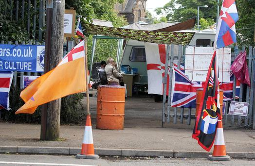 Loyalist protest in the Woodvale area of north Belfast
