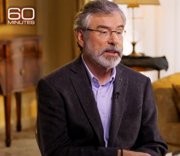 Gerry Adams speaks during the CBS interview