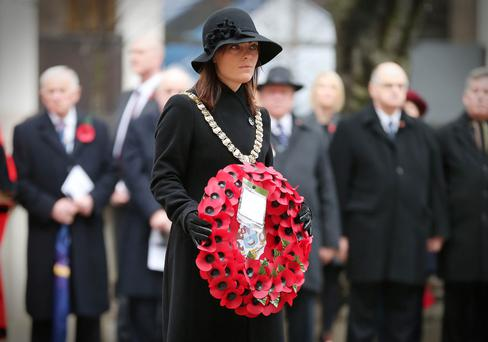 Mayor Nichola Mallon at Cenotaph
