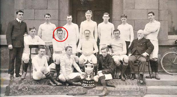 Dr Robbie Smyth (circled) had been an Irish rugby international but died in 1916 aged 36 after being gassed in the trenches