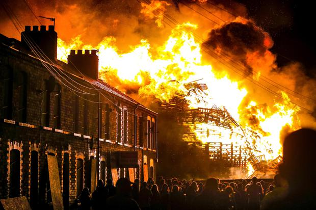 Chobham Street bonfire in east Belfast last year was so big, nearby houses had to be boarded-up to protect them