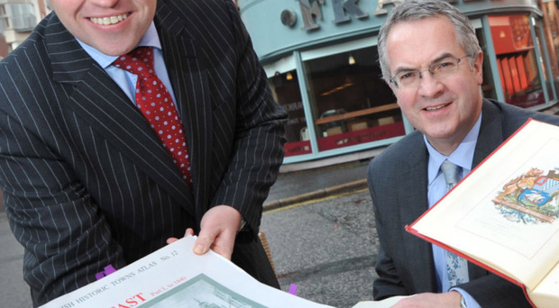 Andrew Irvine with the then Social Development Minister Alex Attwood in 2011