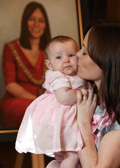 Nichola Mallon along with her daughter Elana