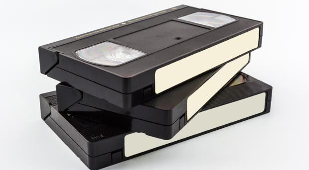 A stack of video tapes