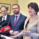 DUP leader Arlene Foster talks to the media in the aftermath of the EU referendum result