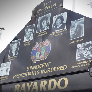 A memorial for victims of the Bayardo Bar bombing on the Shankill Road