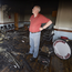 Gordon Bryson, deputy master of LOL 482 Salterstown, examines the damage at its Orange Hall