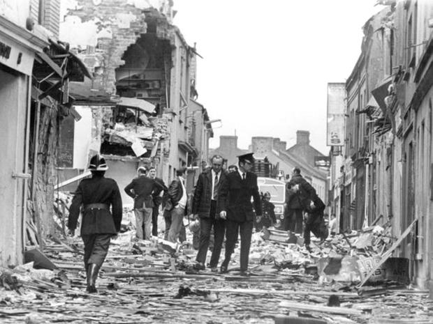 The devastation after an IRA bomb in Carrick in 1972