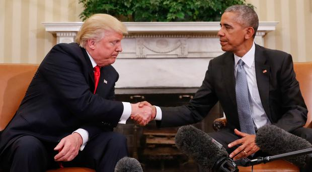 President-elect Donald Trump meets Barack Obama, who he takes over from in January