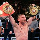 Carl Frampton celebrates in ring