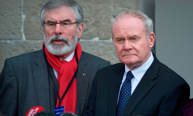 Sinn Fein's Gerry Adams and Martin McGuinness