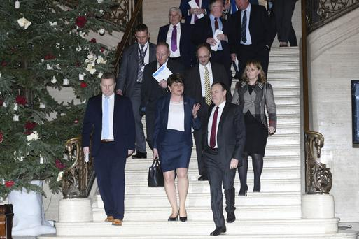DUP MLAs at Stormont after a special meeting about the controversial Renewable Heat Incentive scheme