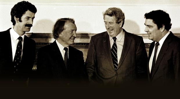 Dick Spring, Irish Labour Party leader, Charles Haughey TD, Fianna Fail leader, Taoiseach Dr Garret FitzGerald and John Hume, leader of the SDLP, at the first meeting of the Northern Ireland Forum in Dublin in 1984