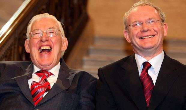 Martin McGuinness with Ian Paisley after being sworn in as First and Deputy First Ministers of the Assembly