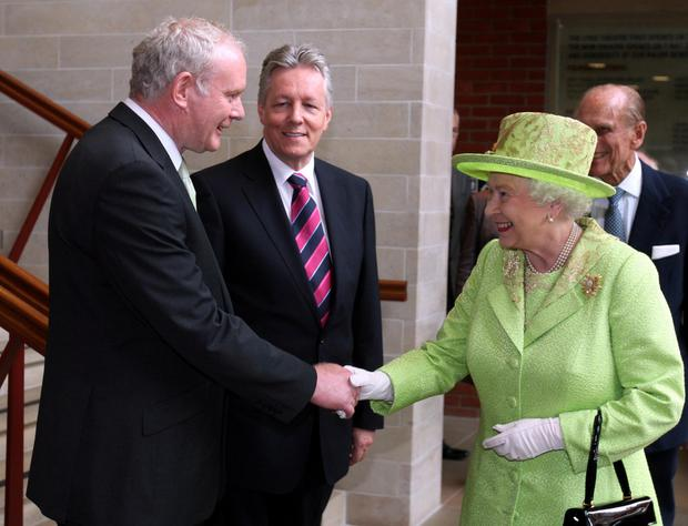 Martin McGuinness meets The Queen in Belfast in 2012