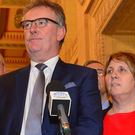 UUP leader Mike Nesbitt with party members in the Great Hall at Stormont