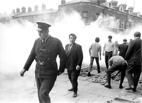 Battle ground: a policeman on Percy Street after riots in September 1969