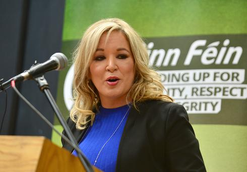 Michelle O'Neill launching Sinn Fein's manifesto in Armagh yesterday