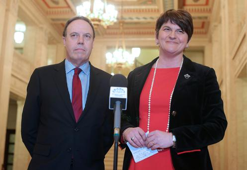 DUP leader Arlene Foster and deputy party leader Nigel Dodds have been roundly criticised by Sinn Fein's Michelle O'Neill