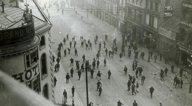 A riot on the corner of York Street and Donegall Street in Belfast in 1920. The War of Independence was raging at the time