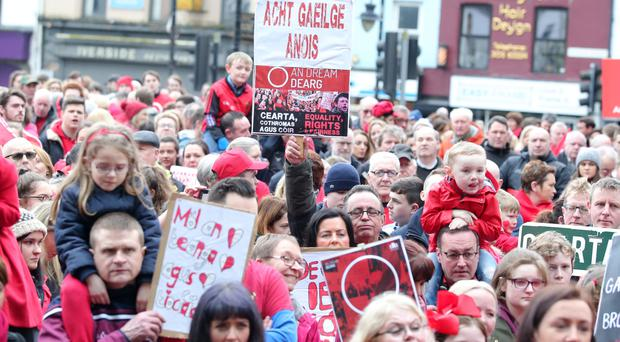 Irish language speakers protest in Newry in February over the issue of an Irish Language Act