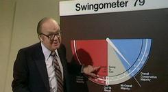 Robert McKenzie with his Swingometer during the elctions in the 1970s