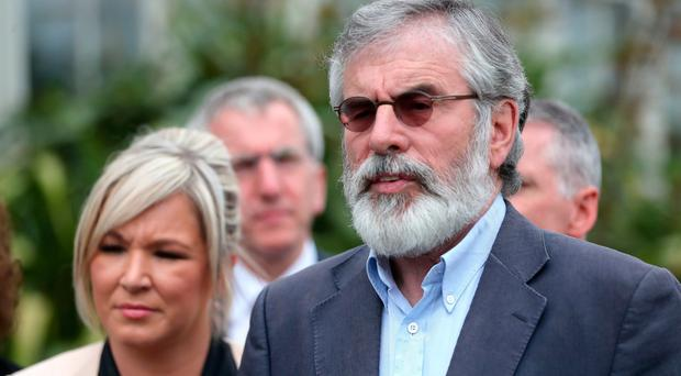 Michelle O'Neill and Gerry Adams at Stormont Castle on Monday