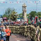 Soldiers on parade at Armed Forces Day in Bangor at the weekend