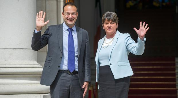Taoiseach Leo Varadkar with DUP leader Arlene Foster at Stormont in June this year