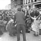 Students take part in a sit-down protest in Linenhall Street during a civil rights march in 1968