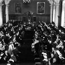 The first meeting of the Northern Ireland Parliament to select a speaker at Belfast City Hall in June 1921
