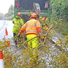 Workers help clear up the aftermath of Storm Ophelia