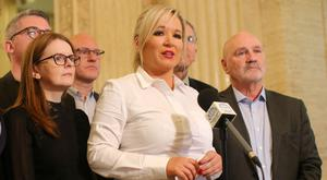 Northern leader Michelle O'Neill and her Sinn Fein colleagues earlier this year at Stormont