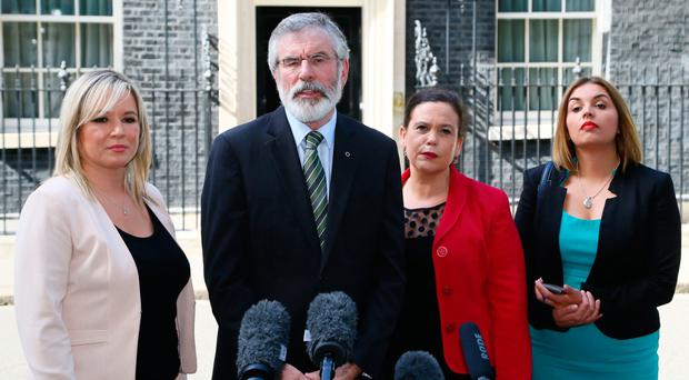Gerry Adams with party colleagues Michelle O'Neill, Mary Lou McDonald and Elisha McCallion outside Downing Street earlier this year