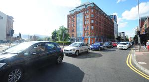 Traffic during rush-hour on Great Victoria Street in Belfast