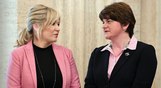 Michelle O'Neill and Arlene Foster were speaking at an event in London.