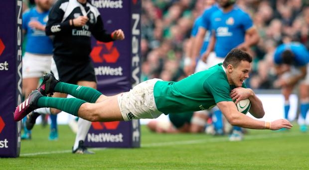 Jacob Stockdale scoring for Ireland against Italy in the Six Nations in Dublin on Saturday