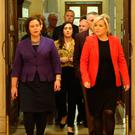 Mary Lou McDonald (left) and Michelle O'Neill lead the Sinn Fein delegation for talks this week at Stormont, where the Irish Language Act is still a stumbling block for progress