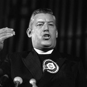 The late Rev Ian Paisley on the stand