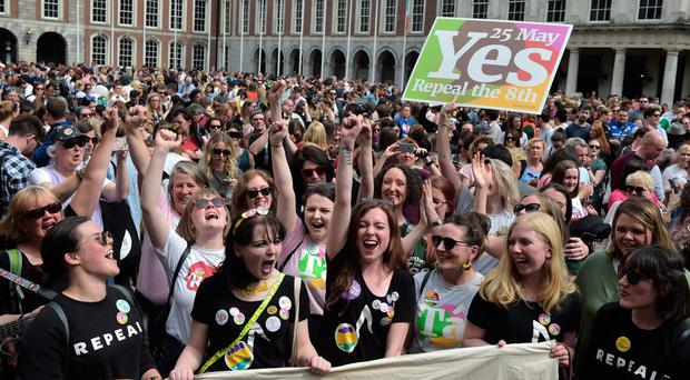 From left: Yes campaigners in Dublin celebrate the referendum result