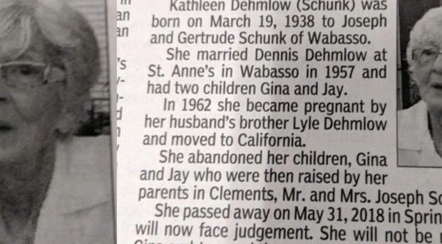 Some of the obituary which Jay Dehmlow wrote about his mother, Kathleen