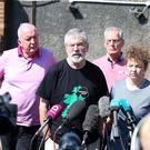 Sinn Fein's Gerry Kelly, Caral Ni Chuilin, Gerry Adams and Bobby Storey