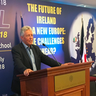 Peter Robinson speaking at a Donegal summer school