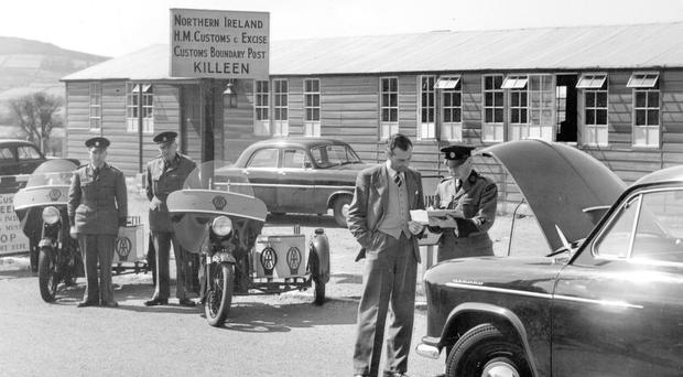 A customs checkpoint on the border in April 1956