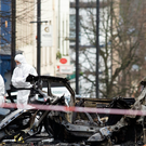 The scene outside Londonderry Court House on Bishop Street following the car bomb explosion