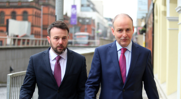 Colum Eastwood of the SDLP and Micheal Martin of Fianna Fail in Belfast