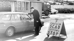 A customs checkpoint on the road between Newry and Dundalk in 1981