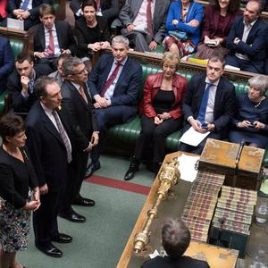 Theresa May watches MPs give the result of the vote during the Brexit debate in the Commons last week